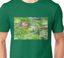 Lotus And Green Heron  Unisex T-Shirt