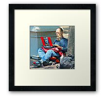 I may be homeless but i still have connections !! Framed Print