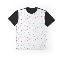 Blue, Red and White Pattern Graphic T-Shirt