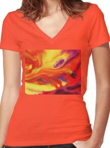 Vibrant Sensation Vivid Abstract IV Women's Fitted V-Neck T-Shirt