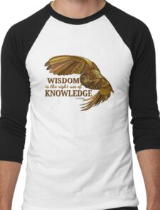 Wisdom is the right use of Knowledge Owl Men's Baseball ¾ T-Shirt