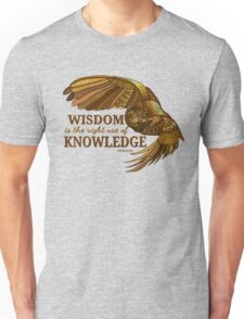 Wisdom is the right use of Knowledge Owl Unisex T-Shirt