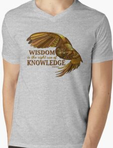 Wisdom is the right use of Knowledge Owl Mens V-Neck T-Shirt