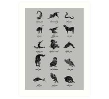 Animal Yogis_Black Art Print