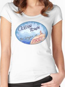Welcome to Ocean Town! Women's Fitted Scoop T-Shirt