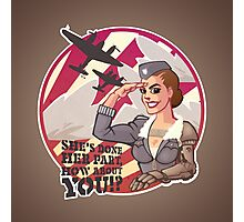 Wounded Warrior Aviator Pin-up Propaganda Poster Photographic Print