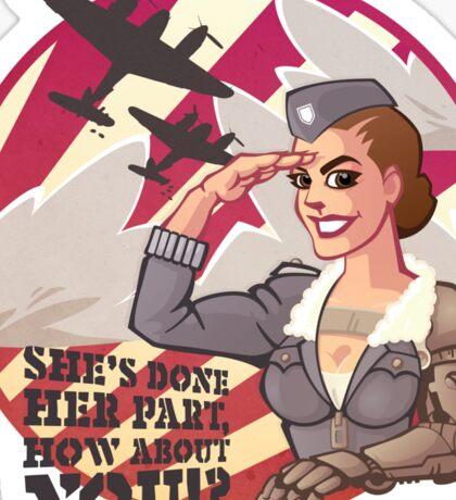 Wounded Warrior Aviator Pin-up Propaganda Poster Sticker
