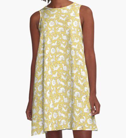 Geometric playful ferrets pattern.  A-Line Dress