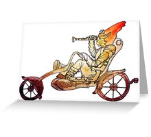 Steampunk Cat Motorcycle Greeting Card