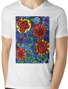 Abstract Colorful Flowers Mens V-Neck T-Shirt