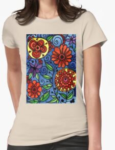Abstract Colorful Flowers Womens Fitted T-Shirt