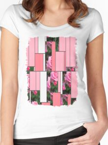 Pink Roses in Anzures 1 Art Rectangles 9 Women's Fitted Scoop T-Shirt