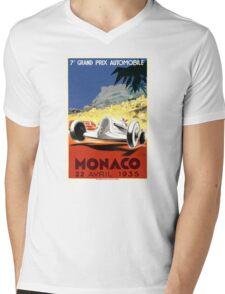 1935 Monaco Grand Prix Race Poster Mens V-Neck T-Shirt