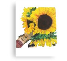 Woman Holding Sunflowers Canvas Print