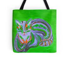 Green - Hypno Rainbow Cat Tote Bag
