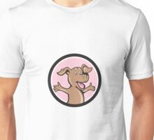 Happy Puppy Arms Out Circle Cartoon Unisex T-Shirt