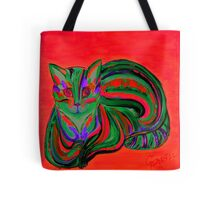 Red - Hypno Rainbow Cat  Tote Bag