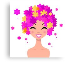 Girl with pink floral hairstyle : original hand-drawn illustration Canvas Print