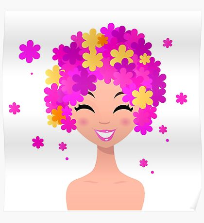 Girl with pink floral hairstyle : original hand-drawn illustration Poster