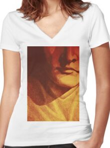 Colorful detail drawing of man face Women's Fitted V-Neck T-Shirt