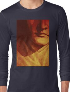 Colorful detail drawing of man face Long Sleeve T-Shirt
