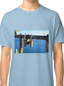 7 August 2016 Photography of many locks on a fence in Vernazza, Italy Classic T-Shirt