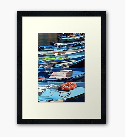 Boats in the water in Vernazza Framed Print