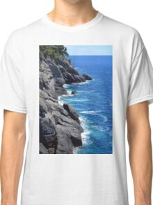 The blue sea and rocky land from Portofino Classic T-Shirt