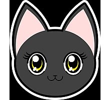 Black Anime Eyes Cat Photographic Print