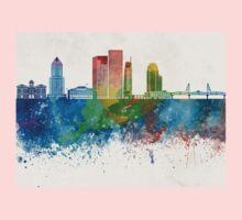 Portland skyline in watercolor background One Piece - Long Sleeve