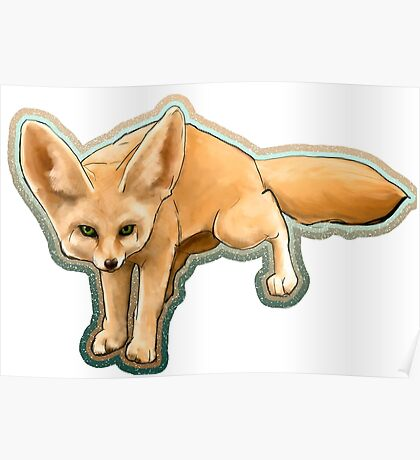 Fennec fox on the hunt Poster