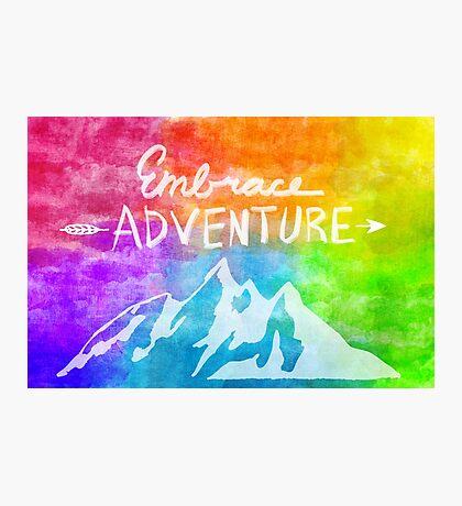 """Embrace Adventure"" Inspirational Word Art Photographic Print"