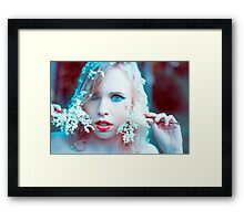 blonde girl with flower in nature  Framed Print
