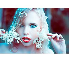 blonde girl with flower in nature  Photographic Print