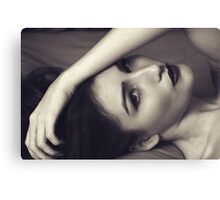 Beautiful woman in black and white portrait Canvas Print