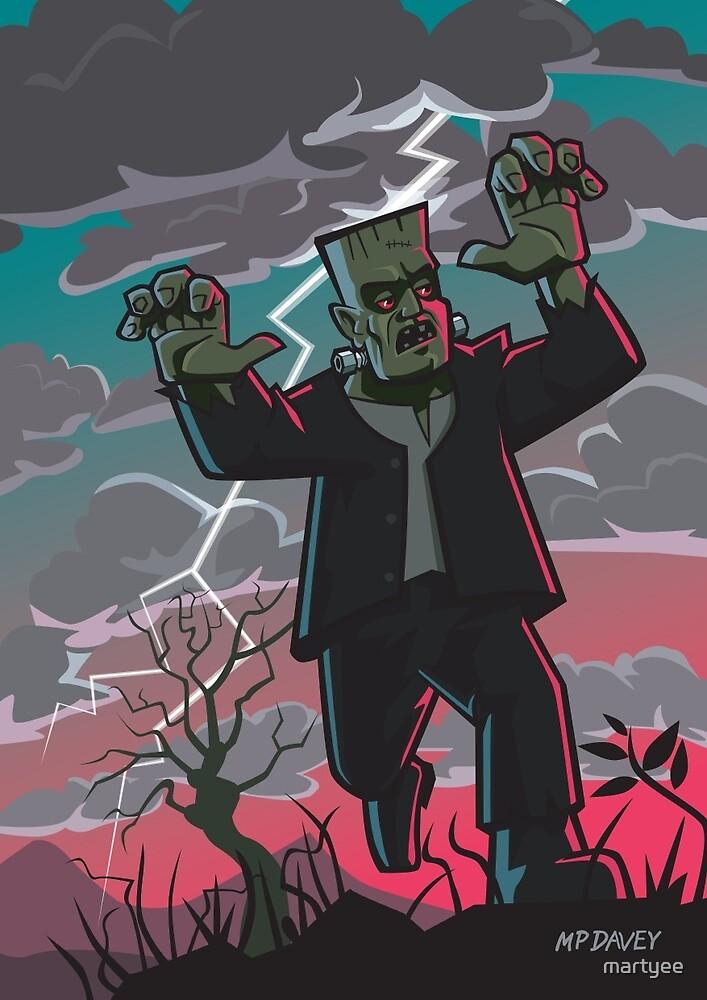frankenstein creature in storm  by martyee