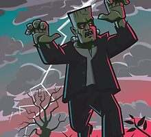frankenstein creature in storm  by martyee