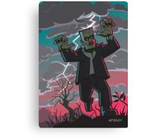 frankenstein creature in storm  Canvas Print