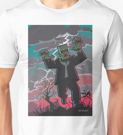 frankenstein creature in storm  Unisex T-Shirt