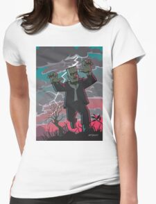 frankenstein creature in storm  Womens Fitted T-Shirt