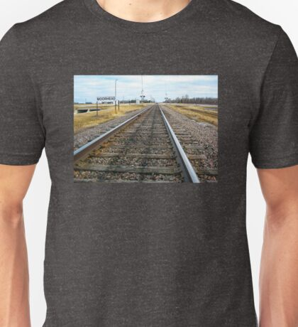 Tracks for a Downbound Train in Moorhead, MN Unisex T-Shirt