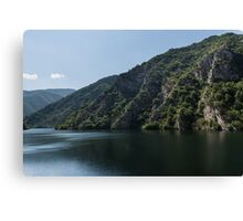 Steep Shores and Green Summer Light - a Mountain Lake Impression Canvas Print