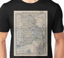 0168 Railroad Maps Indexed map of Rhode Island showing the railroads in the State and the express company doing business over each also counties townships lakes rivers Unisex T-Shirt