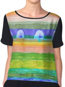 Blue Trees within Striped Landscape Chiffon Top