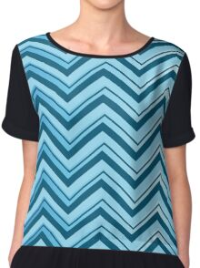 blue shade lines chevron pattern style Chiffon Top