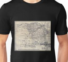 0387 Railroad Maps Map of South Pacific Rail Road Co of Unisex T-Shirt