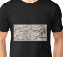 0380 Railroad Maps Map of the Seaboard Raleigh Railroad and its Unisex T-Shirt