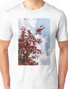 Japanese Maple Red Lace - Vertical Up Right Unisex T-Shirt