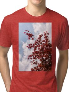 Japanese Maple Red Lace - Vertical Up Left Tri-blend T-Shirt