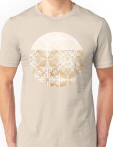 White Doodle Pattern on Sepia Ink Unisex T-Shirt